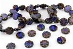 18mm Carved Flower Coin Czech Glass Beads - Blue and Coral Picasso