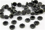 18mm Carved Flower Coin Czech Glass Beads - Jet Black Picasso