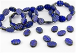 14x18.5mm Wavy Carved Oval Czech Glass Beads - Opaque Blue Picasso