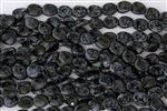 12/9mm Twisted Flat Ovals Czech Glass Beads - Jet Black Picasso