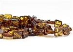 10mm Carved Flat Squares Czech Glass Beads - Topaz Picasso
