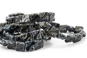 10mm Carved Flat Squares Czech Glass Beads - Jet Black Picasso