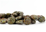 17x14mm Carved Ovals Czech Glass Beads - Green Brown Picasso