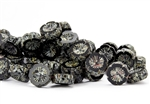 14mm Carved Hawaiian Flower Czech Glass Beads - Jet Black Picasso