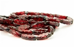 17x8mm Carved Spindle Czech Glass Beads - Transparent Ruby Picasso