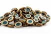 14x10mm Carved Oval Burst Czech Glass Beads - Beige Picasso Turquoise Wash