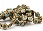 12mm Carved Hawaiian Flower Czech Glass Beads - Beige Picasso Pale Turquoise Wash