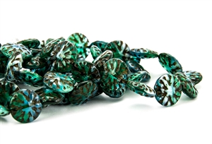 14mm Dahlia Flower Czech Glass Beads - Emerald and Blue Opal