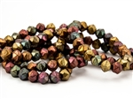 8mm English Cut Czech Glass Beads - Violet Rainbow Metallic Matte