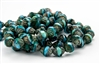 11x10mm Turbine Czech Glass Beads - Aqua and Turquoise Picasso