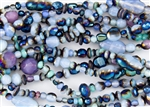 Assorted Pressed/Firepolish Czech Glass Beads - Opal Azuro / Iris Blue Mix
