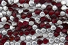 9mm Czech Shells - Ruby Transparent Half Silver Metallic Coat