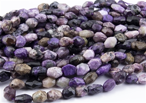 Natural Purple Charoite Gemstone Faceted Nugget Beads