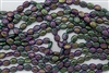 9mm x 10mm Oval Shamrock Clover Czech Glass Beads - Iris Purple Gold Inlay