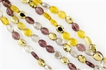 12x9mm Faceted Crystal Designer Glass Oval Beads - Amber Glow Mix