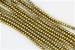 4x6mm Faceted Crystal Designer Glass Rondelle Beads - Antique Gold Metallic