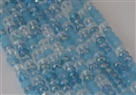 4x6mm Faceted Crystal Designer Glass Rondelle Beads - Aqua Blue Mix