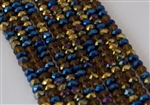 4x6mm Faceted Crystal Designer Glass Rondelle Beads - Arabian Tapestry Mix Iris Metallic