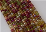4x6mm Faceted Crystal Designer Glass Rondelle Beads - Autumn Leaves Mix