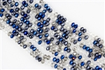 4x6mm Faceted Crystal Designer Glass Rondelle Beads - Metallic Blue Indigo Mix