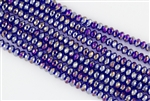 4x6mm Faceted Crystal Designer Glass Rondelle Beads - Cobalt Blue AB