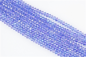 4x6mm Faceted Crystal Designer Glass Rondelle Beads - Light Sapphire AB