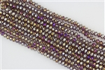 4x6mm Faceted Crystal Designer Glass Rondelle Beads - Medium Amethyst AB