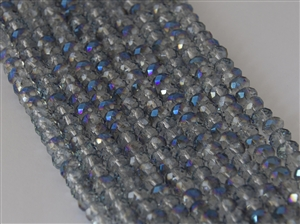4x6mm Faceted Crystal Designer Glass Rondelle Beads - Meridian Blue Crystal