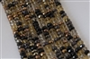 4x6mm Faceted Crystal Designer Glass Rondelle Beads - Rich Bronze Mocha Mix