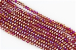 4x6mm Faceted Crystal Designer Glass Rondelle Beads - Ruby AB