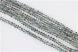 4x6mm Faceted Crystal Designer Glass Rondelle Beads - Sahara Green