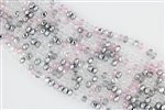 4x6mm Faceted Crystal Designer Glass Rondelle Beads - Silver Steel Rose Pink Mix