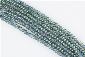 4x6mm Faceted Crystal Designer Glass Rondelle Beads - Veridian Green