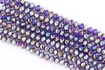 5x8mm Faceted Crystal Designer Glass Rondelle Beads - Amethyst AB