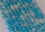 5x8mm Faceted Crystal Designer Glass Rondelle Beads - Aqua Blue Mix