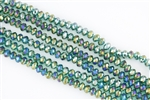 5x8mm Faceted Crystal Designer Glass Rondelle Beads - Blue Zircon AB