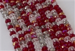 5x8mm Faceted Crystal Designer Glass Rondelle Beads - Red Cherries Jubilee Mix