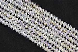 5x8mm Faceted Crystal Designer Glass Rondelle Beads - Crystal AB