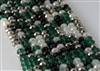5x8mm Faceted Crystal Designer Glass Rondelle Beads - Emerald and Silver Mix