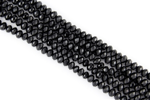5x8mm Faceted Crystal Designer Glass Rondelle Beads - Jet Black