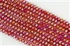 5x8mm Faceted Crystal Designer Glass Rondelle Beads - Lt Siam Cherry AB
