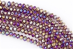 5x8mm Faceted Crystal Designer Glass Rondelle Beads - Medium Amethyst AB