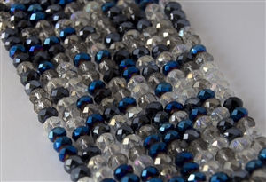 5x8mm Faceted Crystal Designer Glass Rondelle Beads - Metallic Blue Indigo Mix