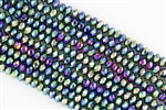 5x8mm Faceted Crystal Designer Glass Rondelle Beads - Metallic Green Iris