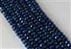 5x8mm Faceted Crystal Designer Glass Rondelle Beads -  Metallic Indigo Blue Iris
