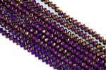 5x8mm Faceted Crystal Designer Glass Rondelle Beads -  Metallic Purple Iris
