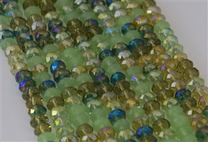 5x8mm Faceted Crystal Designer Glass Rondelle Beads - Mint Julep Mix