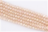 5x8mm Faceted Crystal Designer Glass Rondelle Beads - Soft Peach Opal AB