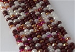 5x8mm Faceted Crystal Designer Glass Rondelle Beads - Red and Mocha Mix
