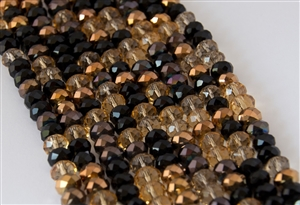 5x8mm Faceted Crystal Designer Glass Rondelle Beads - Rich Bronze Mocha Mix